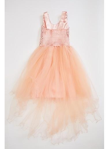 DeFacto Kız Çocuk Tül Detaylı Elbise Oranj